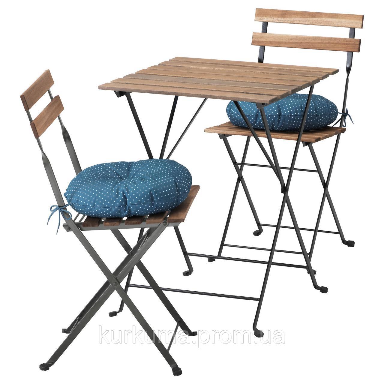 IKEA TARNO Садовый стол и 2 раскладных стула, черно-коричневая морилка, иттерон синий  (391.835.55)