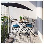 IKEA TARNO Садовый стол и 2 раскладных стула, черно-коричневая морилка, иттерон синий  (391.835.55), фото 2