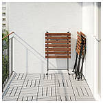 IKEA TARNO Садовый стол и 2 раскладных стула, черно-коричневая морилка, иттерон синий  (391.835.55), фото 4