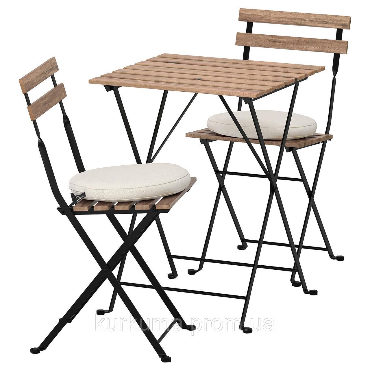 IKEA TARNO Садовый стол и 2 раскладных стула, серо-коричневый, Фрезен/дувхолмен бежевый  (592.708.63)