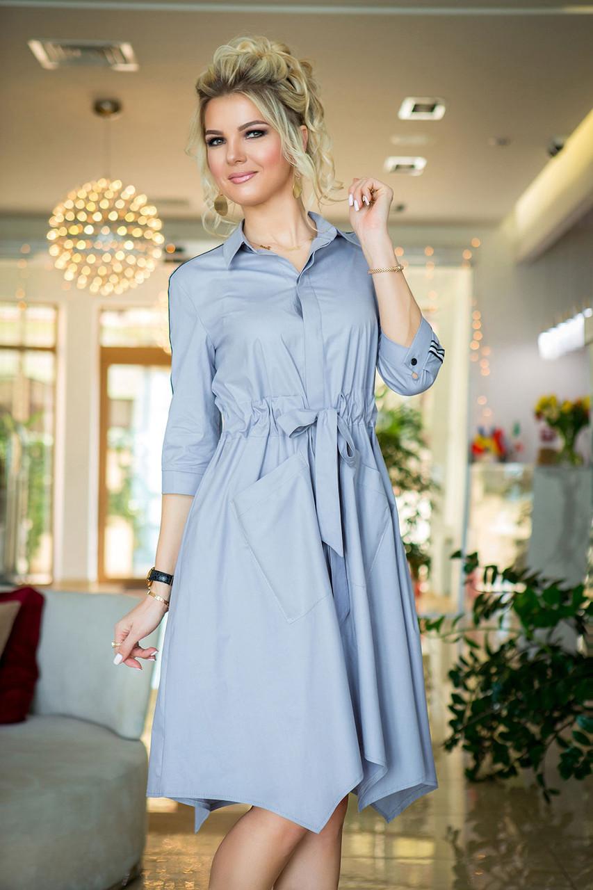 Риана Платье-рубашка светло-серое