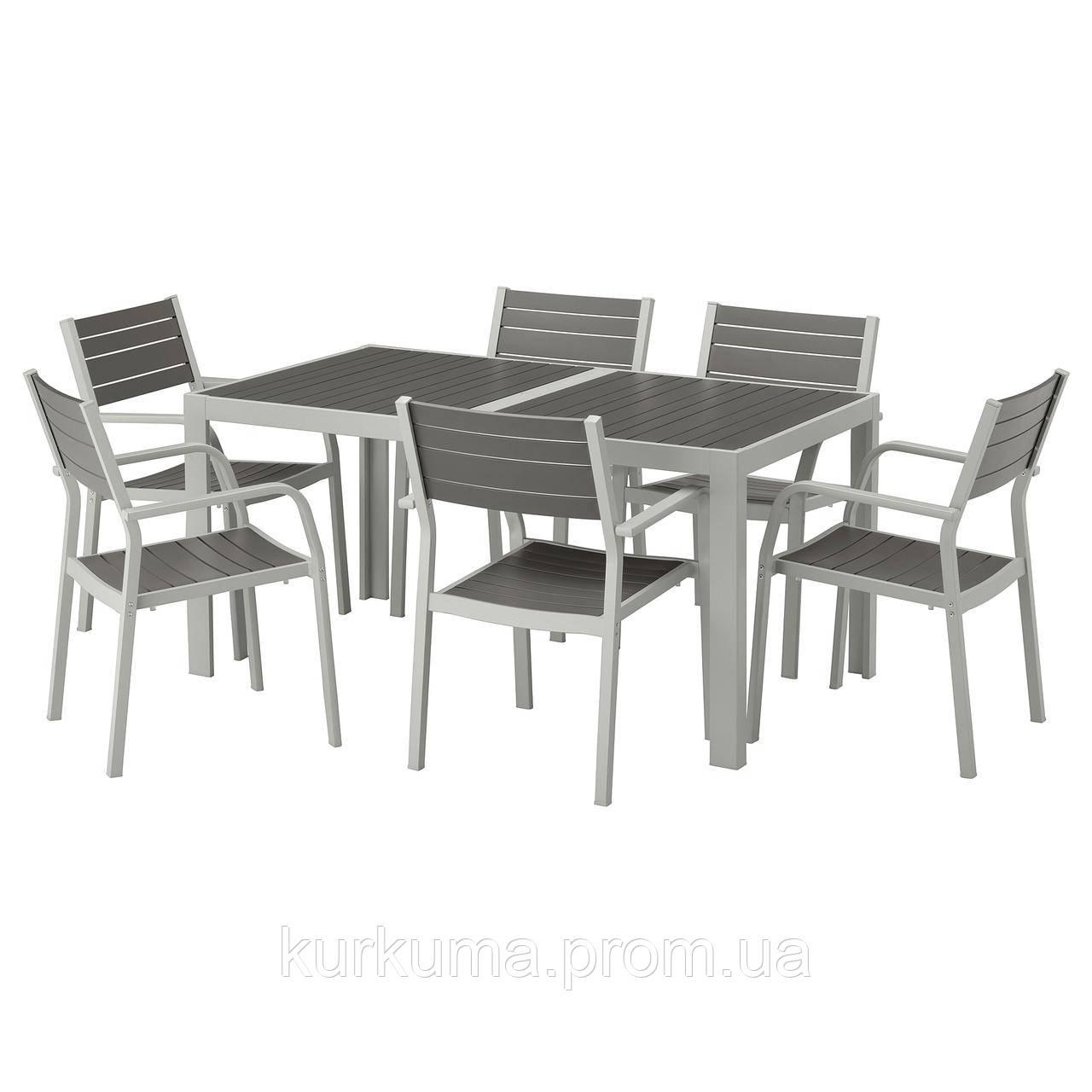 IKEA SJALLAND Садовый стол и 6 стульев, темно-серый (192.652.03)