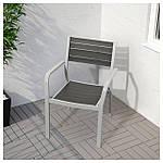 IKEA SJALLAND Садовый стол и 6 стульев, темно-серый (192.652.03), фото 2