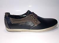 Мужские кожаные спортивные туфли на шнурках, фото 1