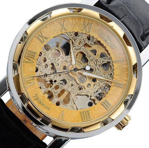 Механические часы Winner Skeleton. Элегантные мужские часы. Браслет кожа.  Интернет магазин часов. Код  КЧТ3 686e14ce2b910