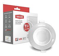 LED светильник MAXUS 3-step 9W круглый светодиодный с подсветкой встраиваемый IP44