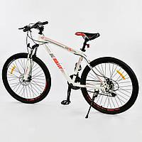 "Велосипед Спортивный CORSO 26""дюймов 0010 - 8345 WHITE-RED K-Rally (1) Металл, 21 скорость, собран на 75%"