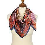 Платок шелковый (атлас)  10126-13, павлопосадский платок (атлас) шелковый с подрубкой, фото 2