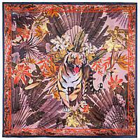 Платок шелковый (атлас) 10126-13, павлопосадский платок (атлас) шелковый с подрубкой