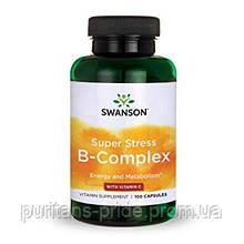 Витамины комплекс группы В с витамином С, от стресса, Super Stress, Swanson 100 капсул