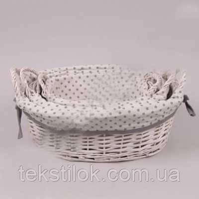 Плетена Корзинка з тканиною для зберігання - овальна