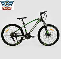"""Велосипед Спортивный CORSO AIRSTREAM 26""""дюймов BLACK-GREEN рама металлическая 17"""", 21 скорость"""