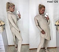 4eefdef0 Женский ангоровый спортивный костюм с длинной асиметричной кофтой с  разрезом 42-46, 48-