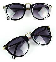 Женские солнцезащитные очки, ретро стиль, металлические душки золотистого цвета, фото 1