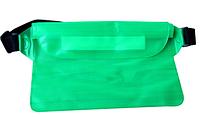 Водонепроницаемый чехол сумка на пояс для телефона, планшета, документов. Зеленый цвет