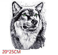 Термонаклейка Волк большой 1 шт, наклейка на одежду