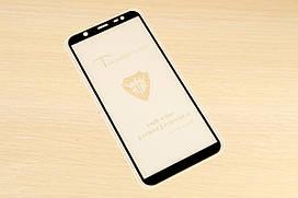 Защитное стекло Full Glue для Samsung Galaxy J8 2018 J810 клей по всей поверхности (Black)
