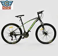"""Велосипед Спортивный CORSO AIRSTREAM 26""""дюймов BLACK-GREEN рама металлическая 17', 21 скорость"""
