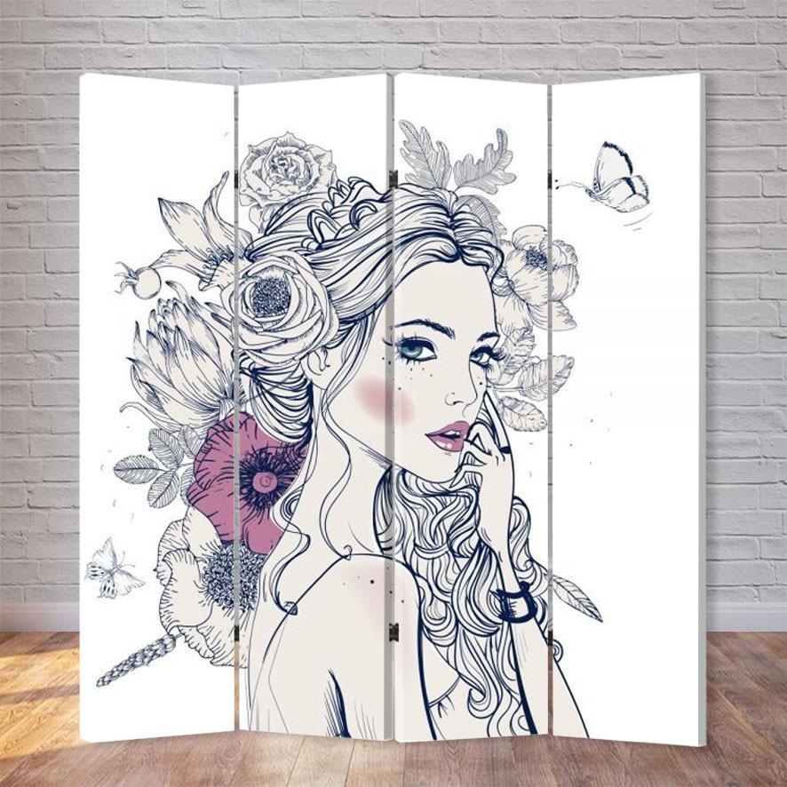 "Ширма ""Девушка в цветах"""