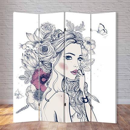 """Ширма """"Девушка в цветах"""", фото 2"""