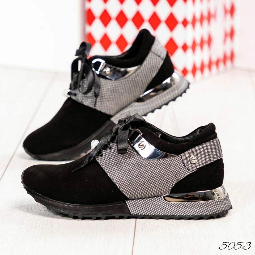 Женские черные замшевые кроссовки Vip