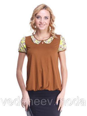 Блуза Мирабелла шоколадная с воротничком в растительную абстракцию