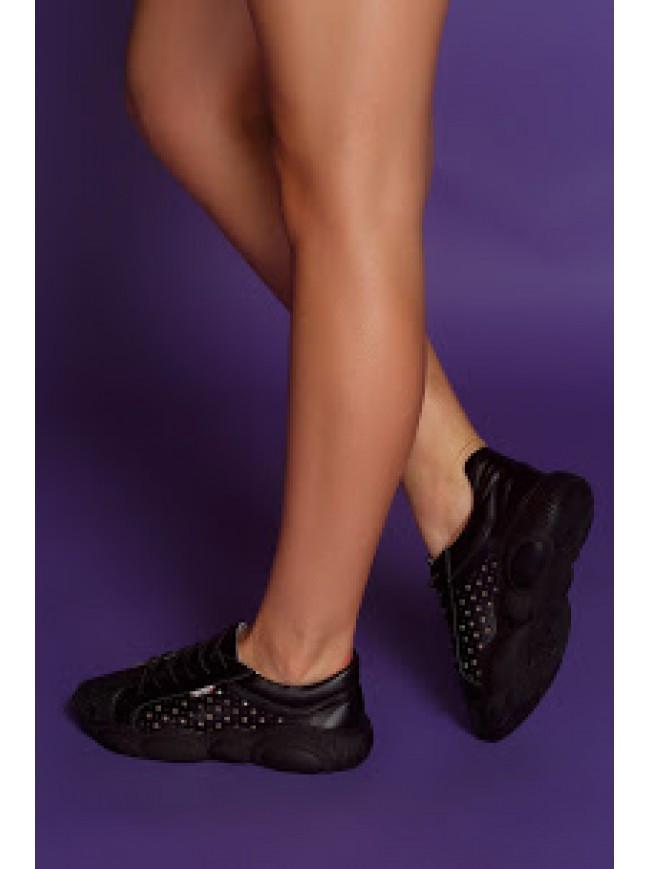 Женские кеды из натуральной кожи черного цвета TED SUPER BLACK STAR