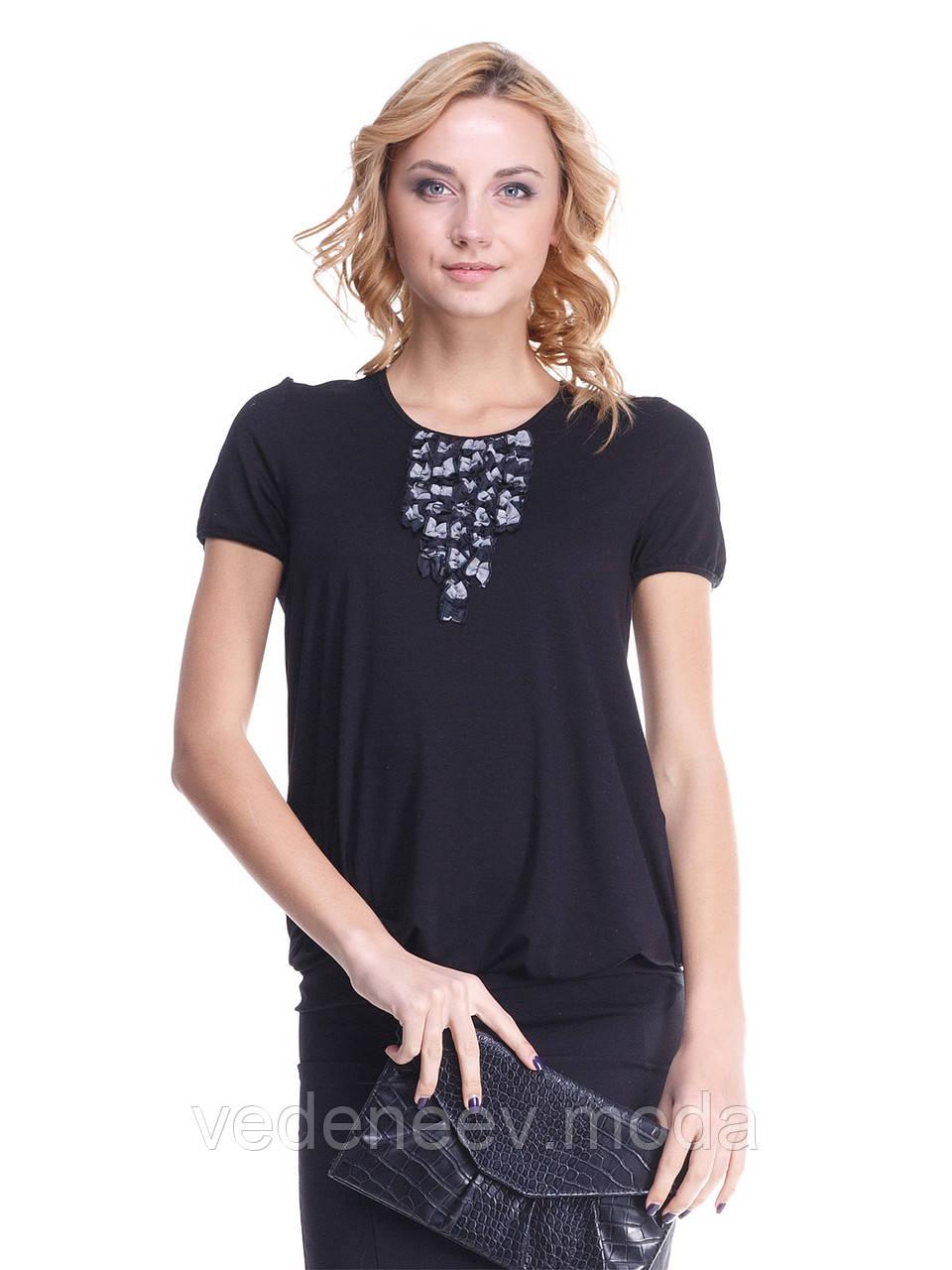 Блуза Жаклин черная с жабо в бело-черные квадраты