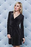 Велюровое платье на запах черное, фото 1
