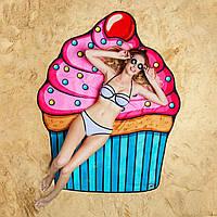 Пляжный коврик подстилка покрывало рисунок пончик пирожное клубника бургер череп 150 на 150