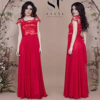 Вечірня сукня з вишитої сітки, атласу та шифону, фото 1
