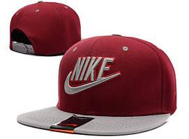 Кепка Snapback Nike бордовая с серым