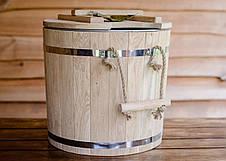 Запарник для віників дубовий 32л з металевою вставкою, фото 2
