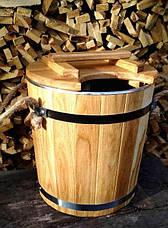 Запарник для веников дубовый 15 литров с нержавеющей вставкой, фото 2