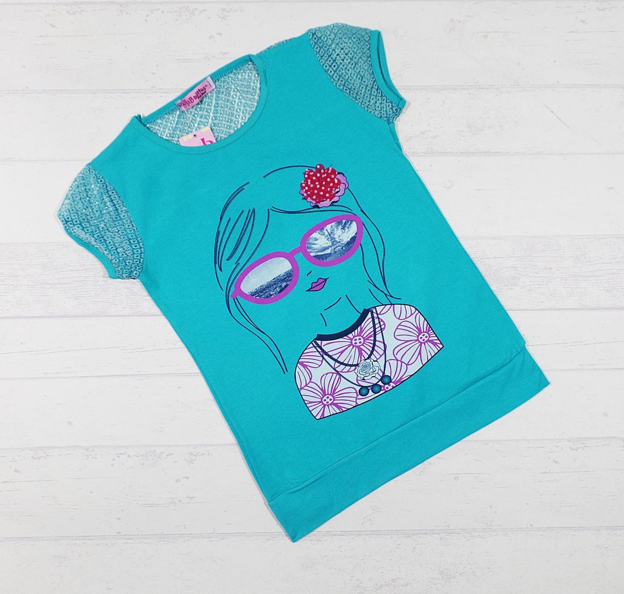 """Детская футболка для девочек """"Модница"""" 9,10,11,12 лет морская молна"""