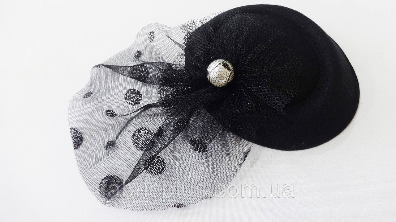 Шляпка - мини декоративная 12.5х10 см овальная (заколка уточка) красная/черная/бежевая