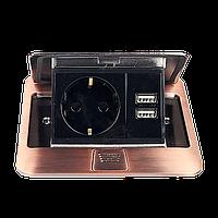 Врезная розетка с крышкой ElectroHouse 1x220V 2xUSB, античная медь