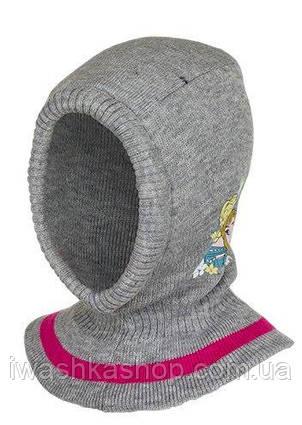 Стильная серая шапка - шлем еврозима с Frozen, Холодное сердце, на девочек, Disney