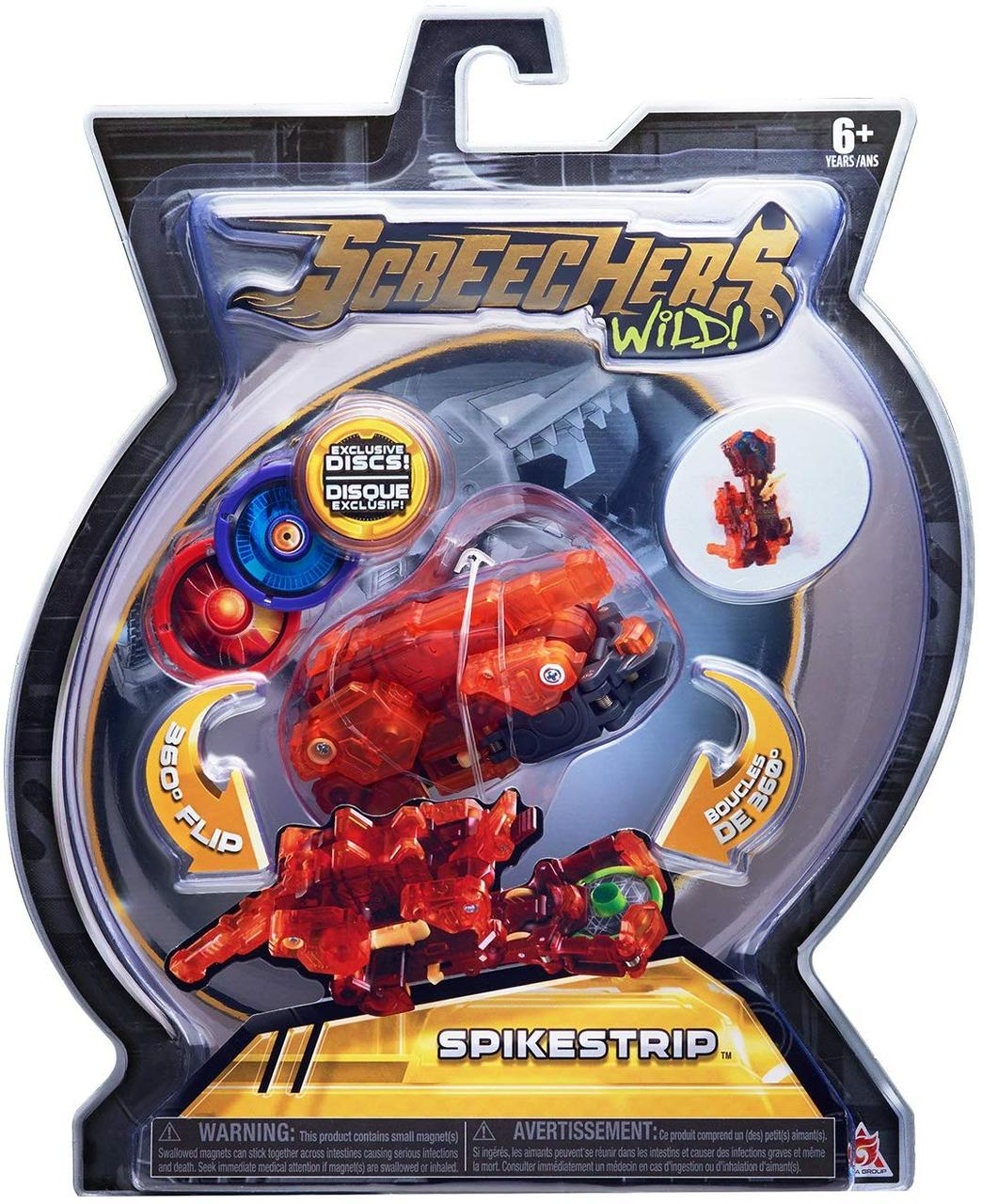 Машинка-трансформер Screechers Wild Дикие Скричеры Спайкстрип оранжевая L 2 (EU683125)