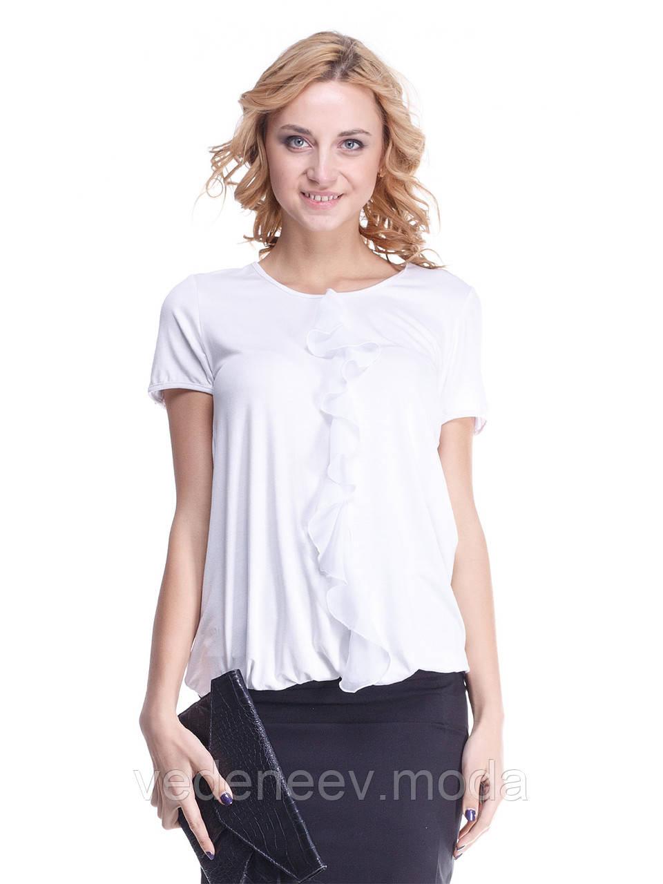 Блуза Ирма белая с белым шифоновым воланом