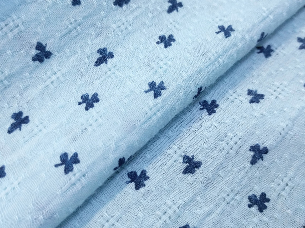 Коттон марлёвка клеверные листочки, светло-голубой