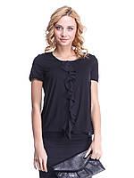 Блуза Ирма черная с  шифоновым воланом
