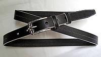 Кожаный женский ремень 25 мм чорный с белой ниткой белыми краями пряжка серебрянная со стразами