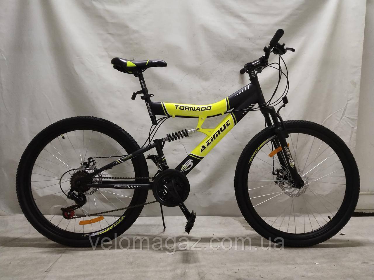 """Велосипед горный двухподвесной Tornado 26"""" рама 19"""" черно-желтый"""