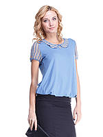 Блуза Мирабелла голубая с воротничком в абстракцию