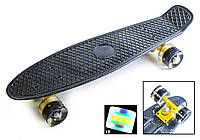 """Penny Board 22"""" Черный с принтом """"Carbon"""" Светящиеся колеса. Пенни борды"""