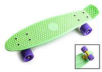 """Penny Board """"Pastel Series"""" Мятный цвет. Матовые фиолетовые колеса"""