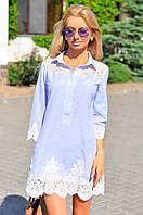 Платье в полосочку со вставками из кружевного гипюра по низу, плечикам, рукавам, фото 1