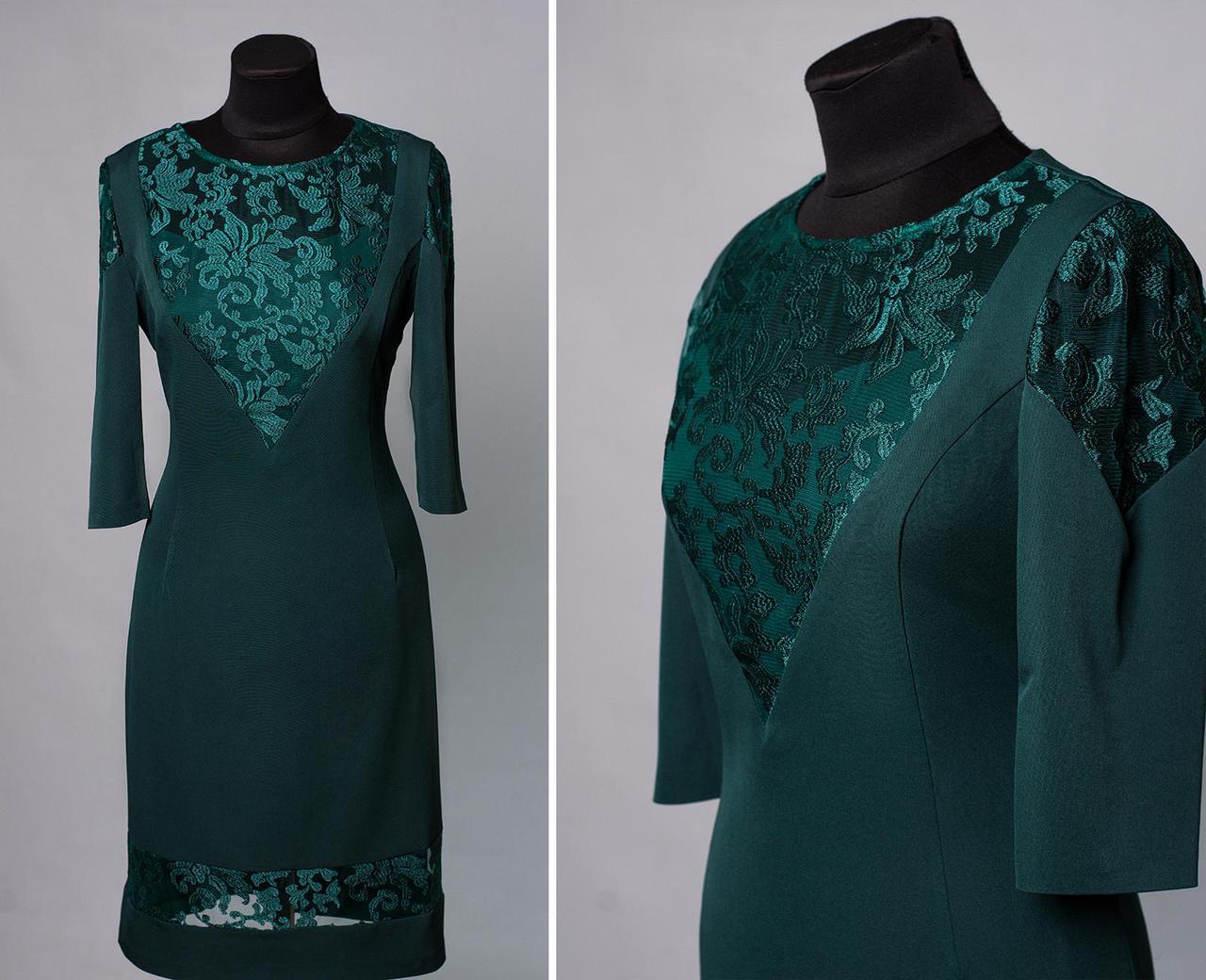 """Стильное женское платье с вставкам из органзы ткань """"Костюмная"""" 46 размер батал"""