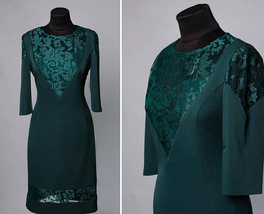 """Стильное женское платье с вставкам из органзы ткань """"Костюмная"""" 46 размер батал, фото 2"""